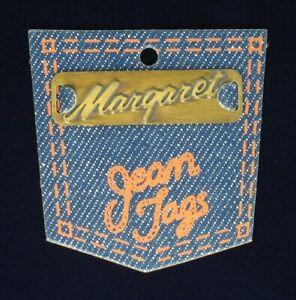 Vintage-Brass-Sew-On-Name-Tag-1-3-4-034-034-Margaret-034