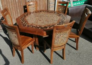 4ft7 Hexagonal Solid Wood Table 6, Hexagon Dining Room Table