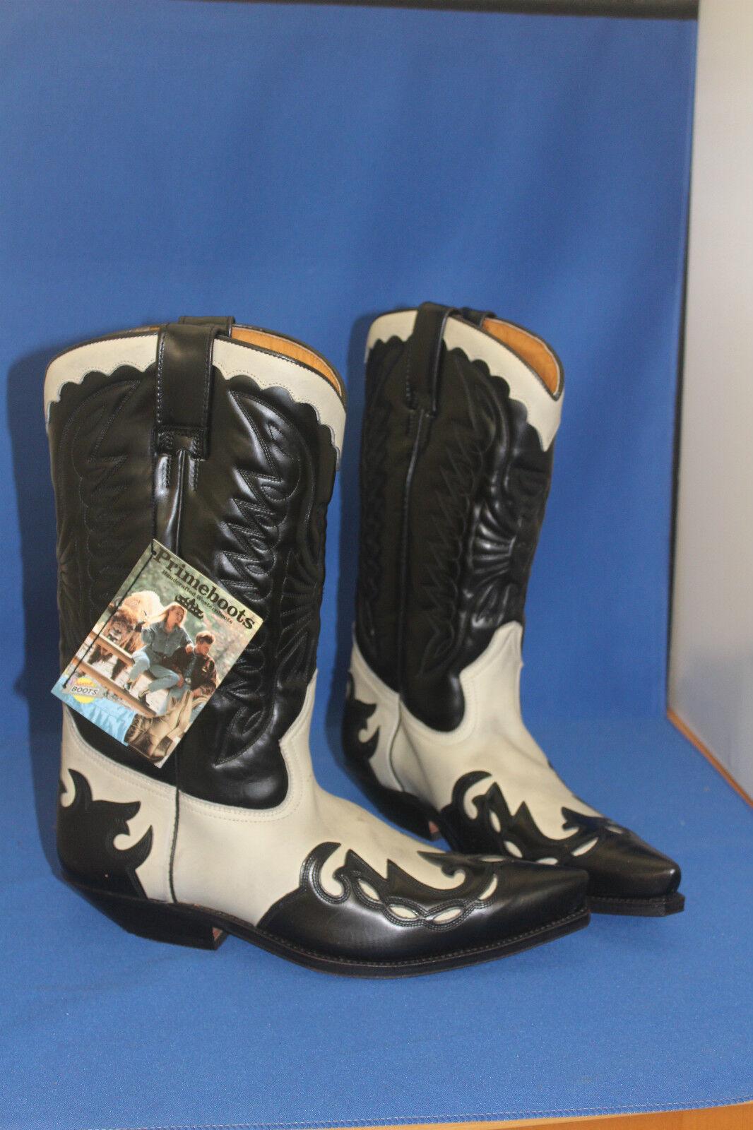 Prime Boots  cowboystiefel westernstiefel schwarz weiss leder handmade    gr. 40 c1c5f1