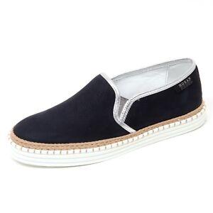 D0258 sneaker donna HOGAN REBEL R260 scarpa blu argento slip on shoe ... f2eff28b8d8
