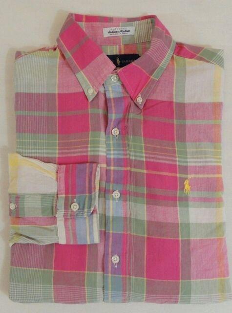 90404ff7144e  98 Men Polo Ralph Lauren Pony Aberdare Indian Madras Classic Dress Shirt M  XL