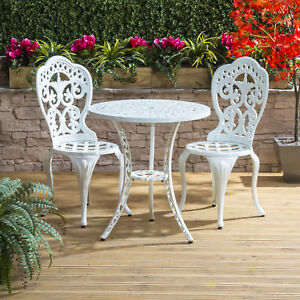 Image Is Loading Vintage Bistro Set Cast Aluminium White Outdoor Coffee