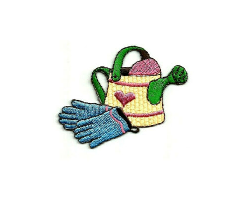 Watering Can Embroidered Iron On Applique Patch Spring Gardening Garden
