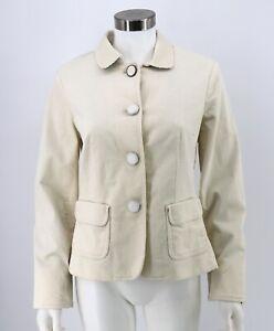 Talbots NWT Corduroy Jacket Size 8P Petites Ivory Button Front Blazer Womens