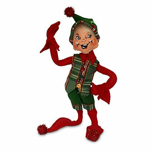 """NORTHWOODS ELF RED 9/"""" Christmas Plaid POSEABLE Table Tree Decoration Annalee"""