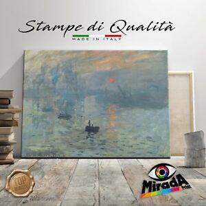 Claude Monet Impressione levar del Sole Stampa su Tela Vernice Pennellate