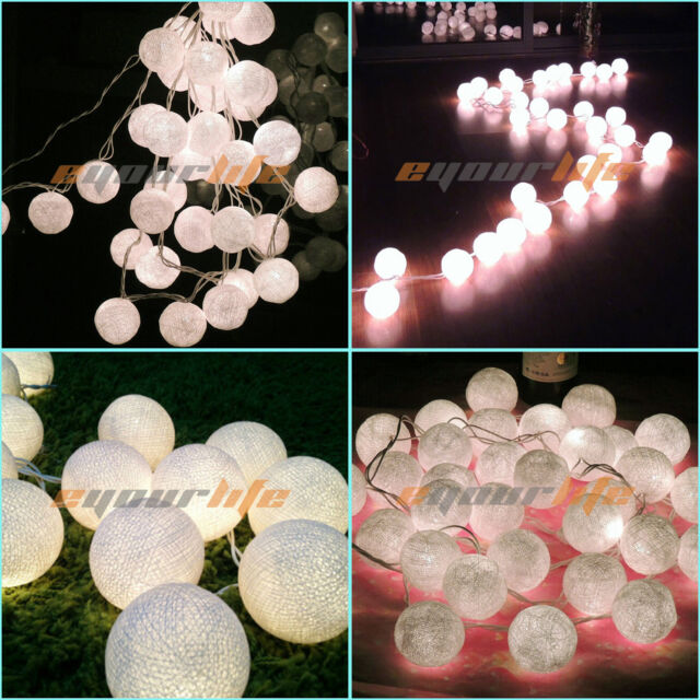 20/35 COTTON BALL FAIRY LED STRING LIGHTS WEDDING PARTY PATIO Christmas DECOR #E
