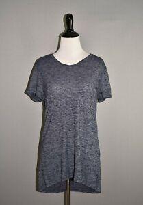 ATHLETA-68-Blue-Stripe-Short-Sleeve-Asana-Tee-High-Low-Small