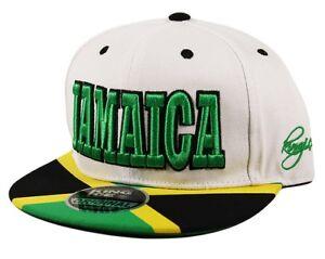 eeccb36b4f9 JAMAICA Snapback Green Yellow Flag Flat Peak Snap Back Cap Hat Black ...
