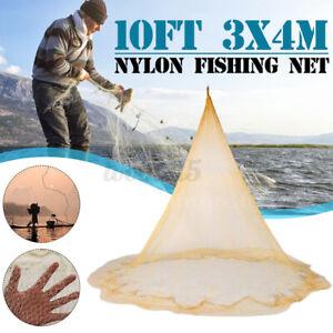 10x13Ft-Fishing-Gill-Net-Nylon-Monofilament-Mesh-3X4M-Easy-Hand-Throw-Cast-US