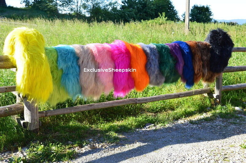 Dyed Icelandic Genuine Sheepskin rug Sheep skin 16 Coloreeeee soft long wool