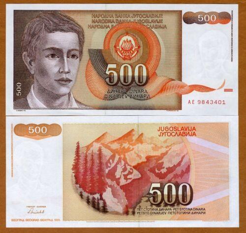 Yugoslavia 500 Dinara UNC /> Young Man Pick 109 1991