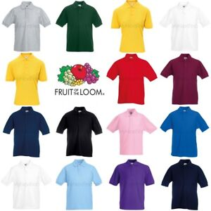 Fruit-of-the-Loom-Ninos-Ninas-Camisa-Polo-Pique-65-35