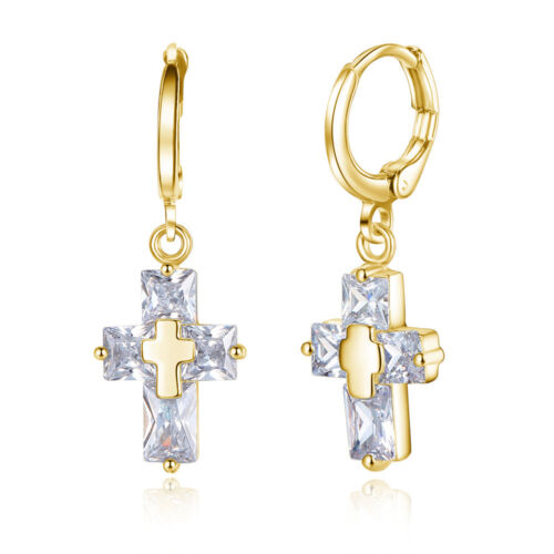 Pendentif Croix Cristal Femmes Fashion Oreille Boucle Party Jewelry Dangle Earrings