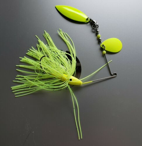 BUY TWO 3//8 OZ CHARTREUSE SPINNER BAIT WITH WILLOW AND COLORADO BLADES
