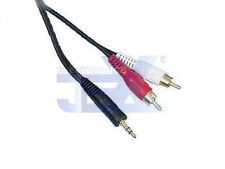 "10' Twin RCA Male to 1/8"" 3.5mm jack Audio Cable/Lead MP3/Ipod/PC to TV/Stereo"