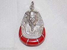 Egyptian Silver Stamped Red Enameld King Tut Ankh Amon Mask Pendant USA Seller *
