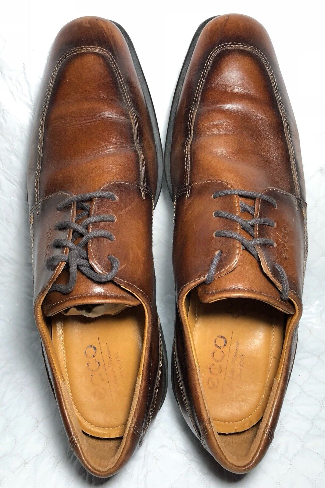 Ecco Men's Brown Leather Loafers Oxford new shoes shoes Size 45