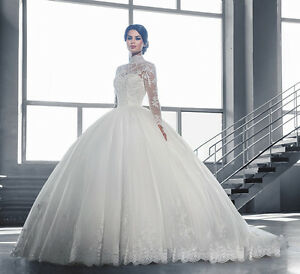 Luxury High Neck Lace Ball Gown Long Sleeve Wedding Dress Bridal ...