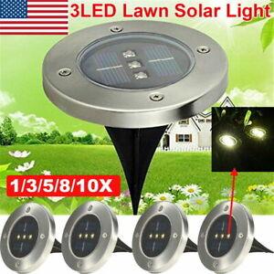 5 LED Solar Power Flat Buried Light Underground Lamp Outdoor Path Garden Decking