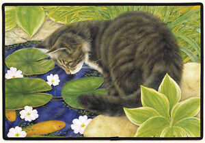 DOOR MATS - CAT AT THE FISHPOND DOORMAT - CAT WELCOME MAT - CAT DOOR MAT