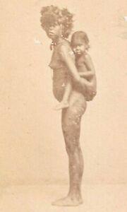 AUSTRALIAN ABORIGINAL WOMAN & CHILD QUEENSLAND, EARLY 1870s ALBUMEN CDV PHOTO