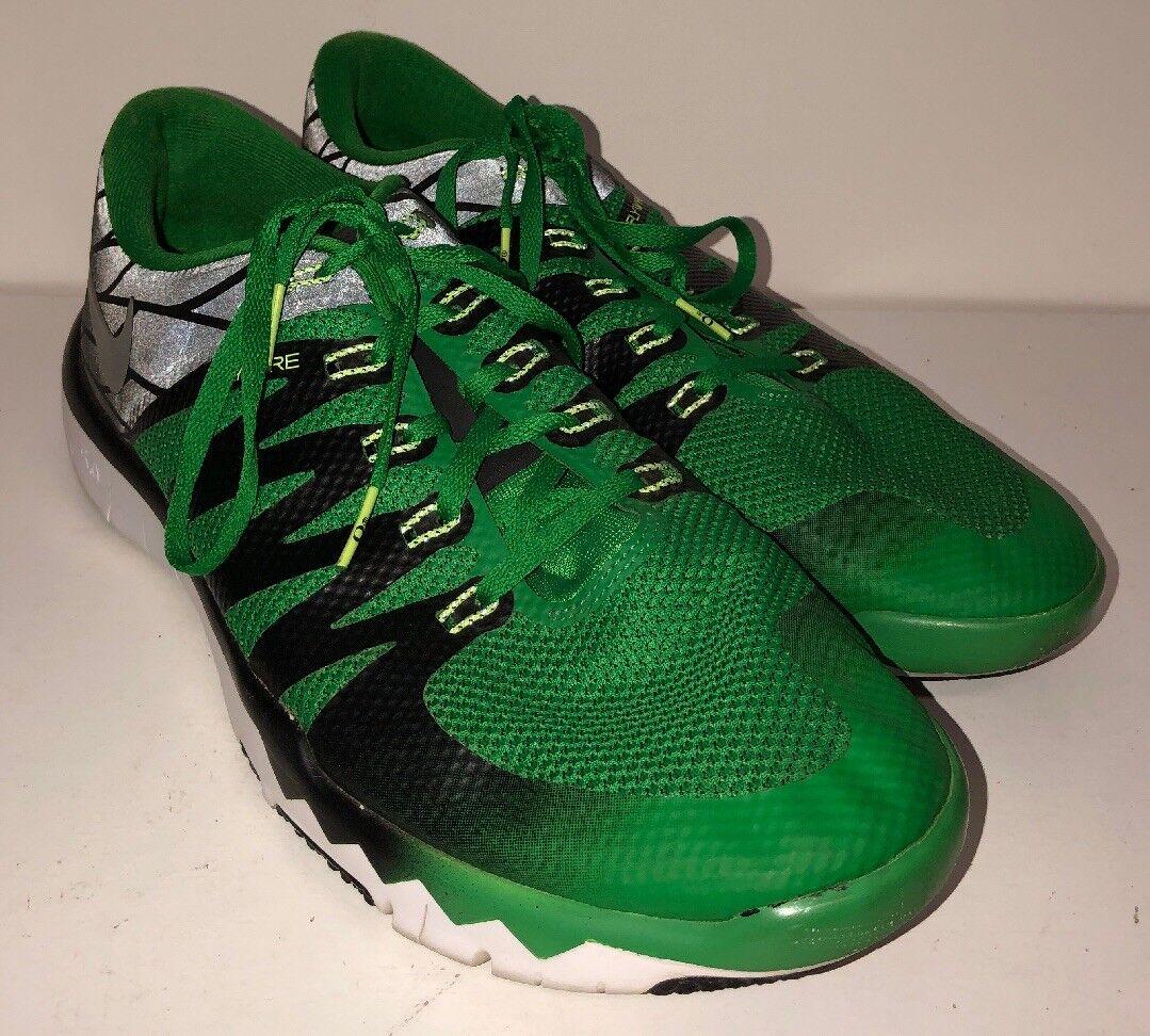 Nike 5,0 v6 amp freier trainer sz 12,5 grüne schwarze 723939-307 university of oregon