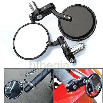 """End Side Mirrors 7/8"""" Motorcycle Round Handlebar For Cafe Racer Bobber Clubman"""