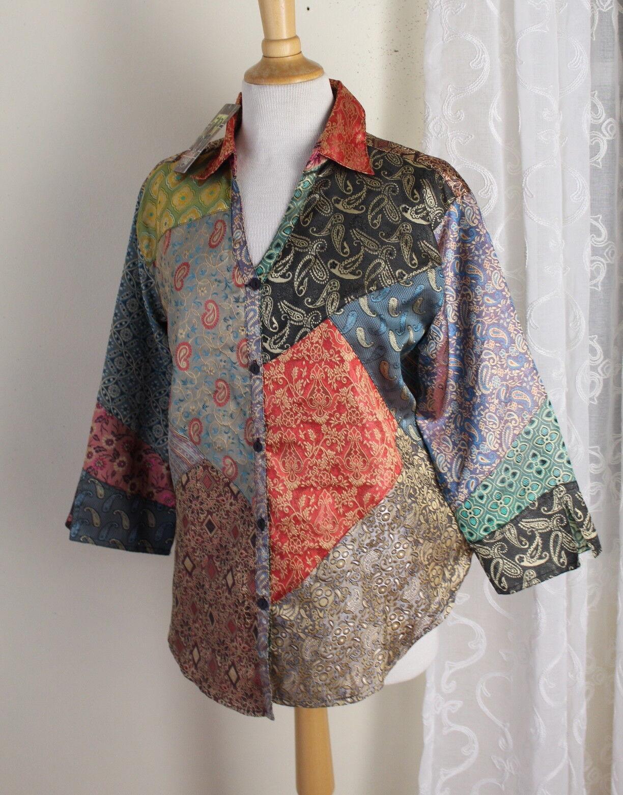 NWT Sacrot Threads Sz M Art-to-Wear Fun Boho Gypsy Paisley Patchwork Tunic Top