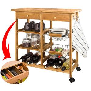 Carrello-Cucina-Legno-Bambu-2-Cassetti-Portaposate-Portabottiglie-4-Scomparti