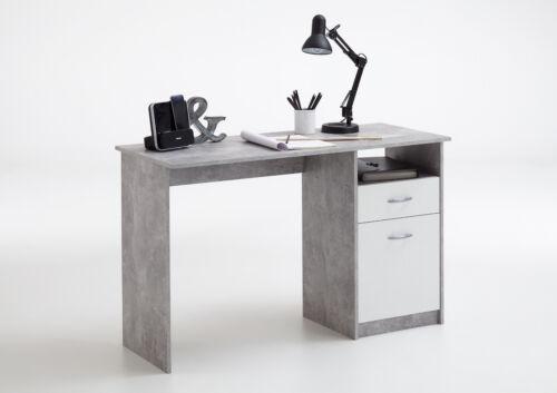 Schreibtisch Computertisch Kinderschreibtisch Beton//Weiß  B.123cm 3004-001