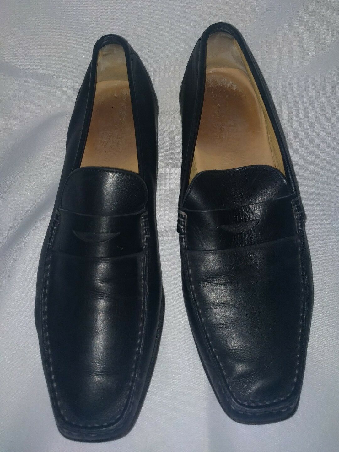 Salvatore Ferragamo Black Leather Mens 10 D Loafers shoes