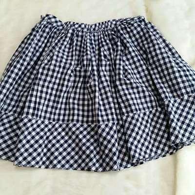 Norma Kamali navy blue white gingham checked plaid full skirt 12A