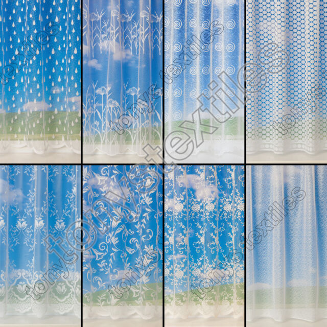 LUXURY QUALITY WHITE CREAM NET CURTAIN SOLD BY THE METRE SLOT TOP NEW DESIGNS
