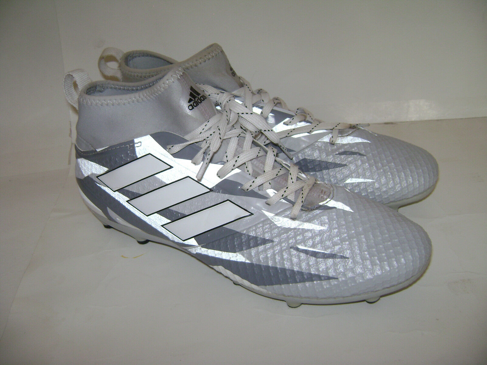 ADIDAS ACE 17.3 PRIMEMESH FG SOCCER CLEATS MENS SHOES BB1015 size 8.5 GRAY WHITE