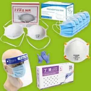 FFP2 Masken / Mund-Nasen Schutz / Handschuhe / Gesichts Visier Atemschutz Maske