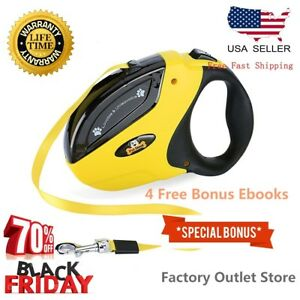 Dog-Leash-Retractable-Walking-Collar-For-Small-Pet-with-Lock-Nylon-10-Ft