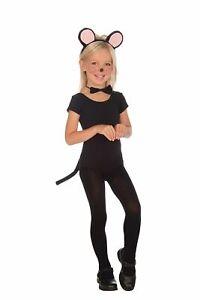 Child Dress Up Kit Set Black Plush Mouse Ears Tail Bow Tie Costume Accessory