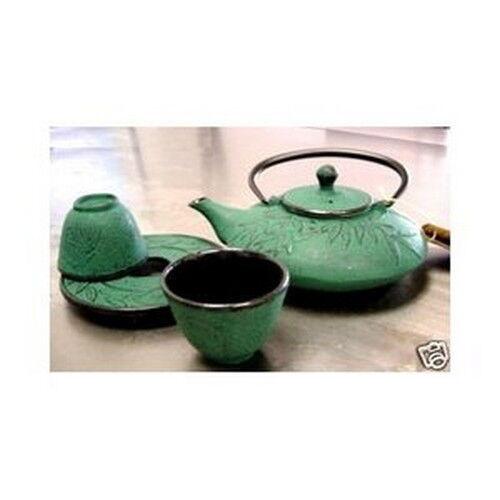 Bamboo Green Cast Iron Tea Set Teapot Teacups TS9/06G S-3019 AU