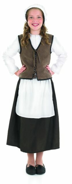 Anglo Saxon Tudor Medieval Girl Peasant Costume Complete Outfit New 10-12