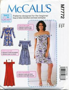 9c98752591e7dd MCCALL'S SEWING PATTERN 7772 MISSES 4-20 EASY LEARN-TO-SEW OFF ...