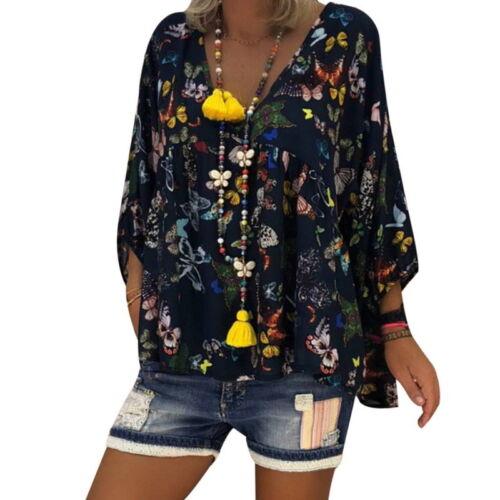 LP Damen Langarm Bluse Shirt Schmetterling Oberteile Tops Pullover Tunika Boho