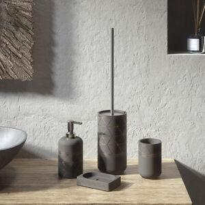 Set accessori bagno da appoggio in cemento grigio 4 pezzi Gedy linea Calipso