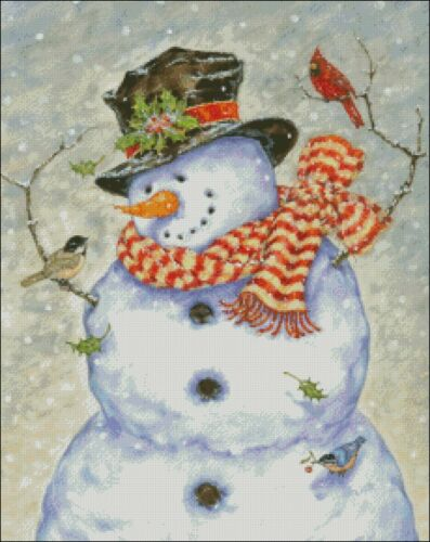DIY Chart Counted Cross Stitch Patterns Needlework 14 ct Snowman and Birds