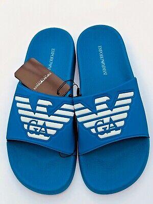 Emporio Armani Logo Grande Unisex Blu Diapositive/sandali Misure Uk 6.5, 7.5, 8, 9 Nuovo Con Scatola-mostra Il Titolo Originale
