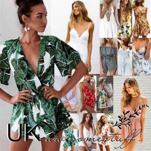 UK Women Off Shoulder Playsuit Bardot Romper Shorts Jumpsuit Summer Holiday 6-14