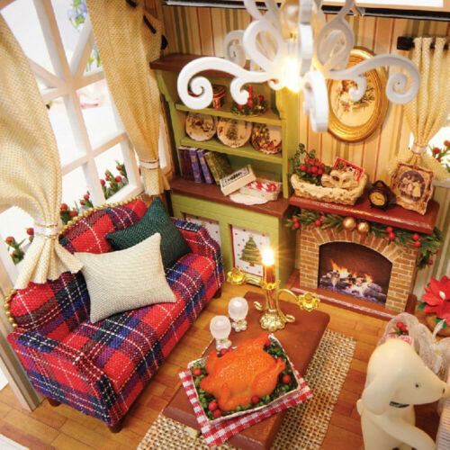 LED Light Xmas Gift 3D DIY Handcraft Toy Doll Miniature Wooden House Studio Kit