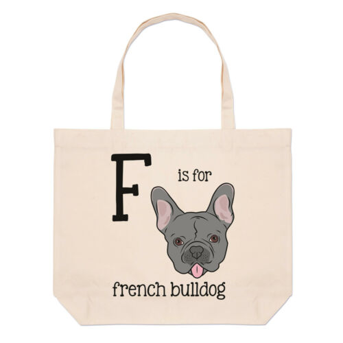 Letter F Is For French Bulldog Large Beach Tote Bag Alphabet Funny Shoulder