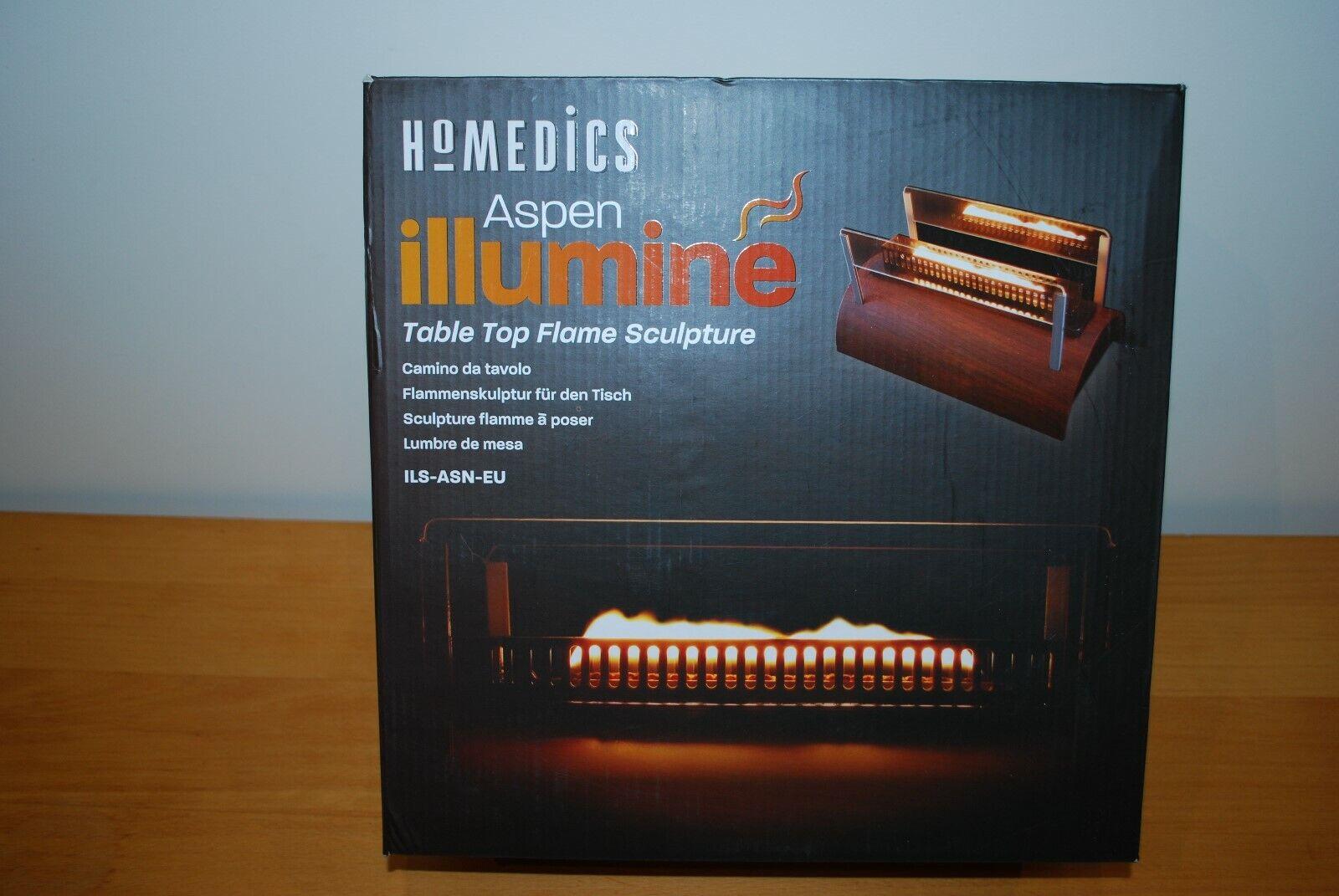 Homedics Aspen Illumine table top flame sculpture decorative - new in box