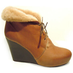 caa7dd78abdf03 VIC MATIE Made in Italy brown leather wedge ankle boots warm fur ...